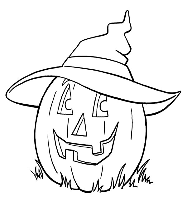 Halloween Page Print And Colour The Witch Pumpkin