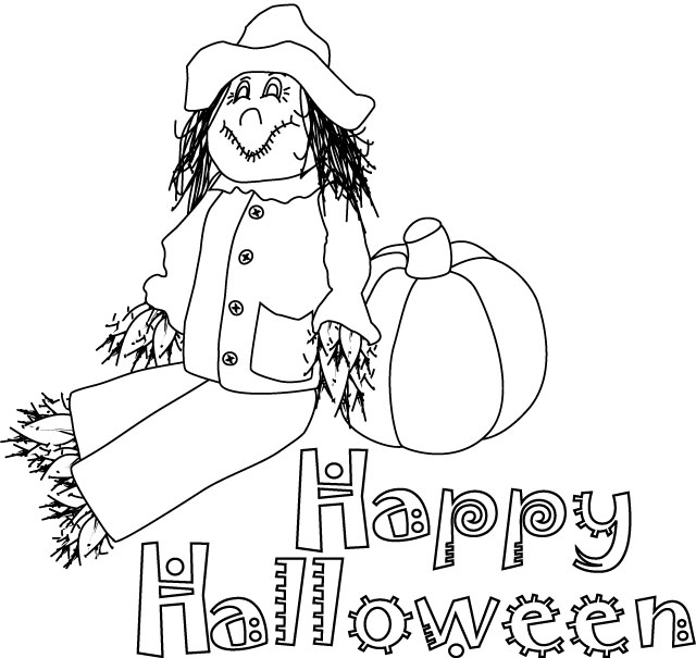 colour the happy halloween page