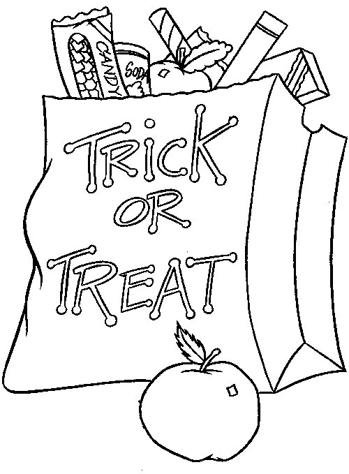 or treat bag - Halloween Coloring Pages Kids