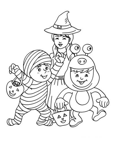 trick or treat kids - Kids Colouring Pictures