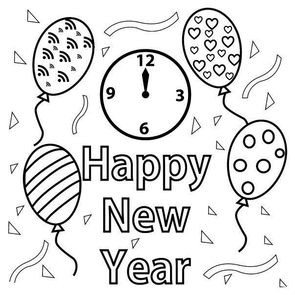 Line Art Year : Free happy new year colouring pages for kids