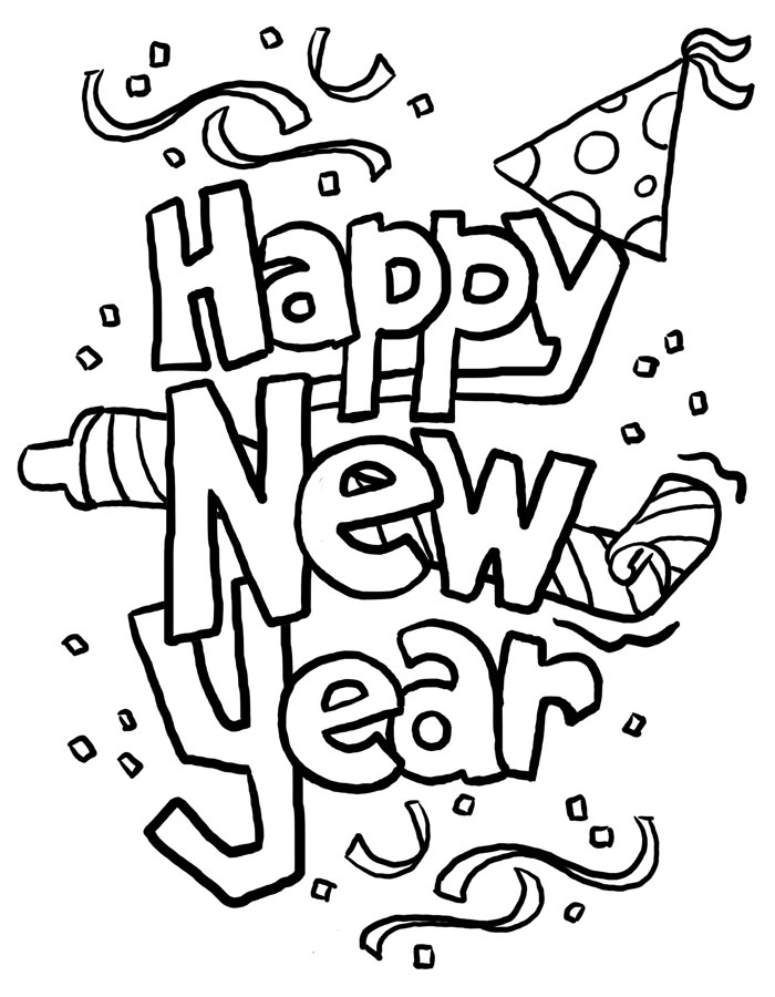 Happy New Year Coloring Pages Extraordinary Free Happy New Year Colouring Pages For Kids Inspiration Design