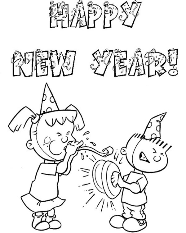 print and colour new year kids party