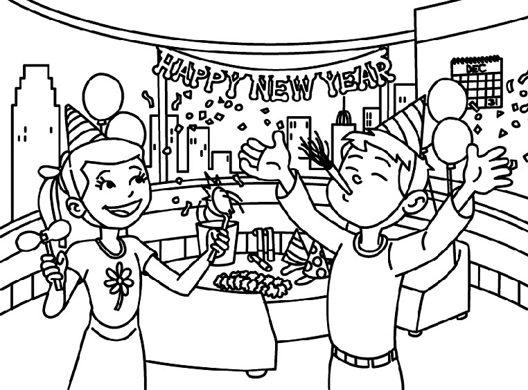 print and colour kids new year eve party