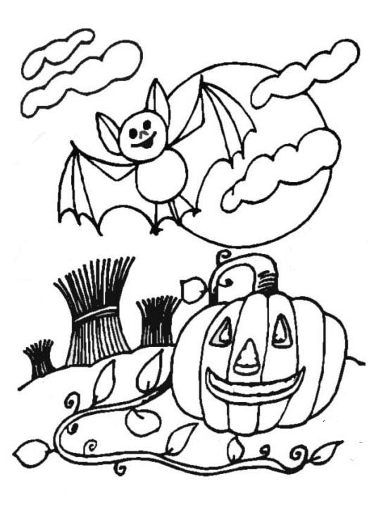 print and colour a bat and pumpkin