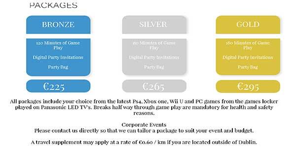 """""""Gaming Party Van Packages"""""""